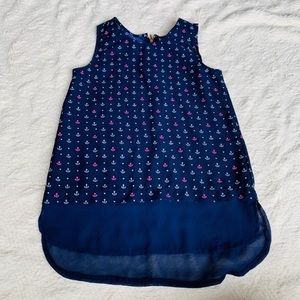 Girls navy blue nautical anchors Tank Top size 10